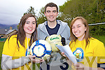 GOALS: Cllr Brendan Griffin was in goals at the Bee for Battens fundraiser at Presentation Secondary School, Milltown on Thursday, pictured with Niamh Cronin and Maedbh McSweeney.