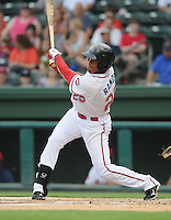 Outfielder Henry Ramos (25) of the Greenville Drive, Class A affiliate of the Boston Red Sox, in a game against the Lexington Legends on August 5, 2011, at Fluor Field at the West End in Greenville, South Carolina. (Tom Priddy/Four Seam Images).