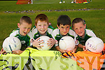 TOP STARS: Enjoying the National Irish Banks/FAI Soccer Summer Camp in Athea on Thursday last were local players Mark McAuliffe, Lorcan McAuliffe, Jason Kelly and Sean Ryan..