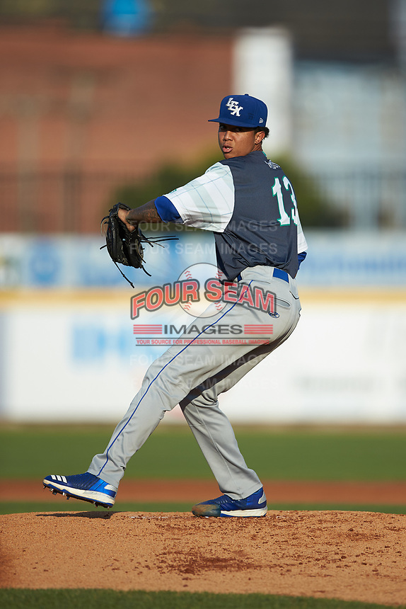 Lexington Legends starting pitcher Janser Lara (13) in action against the West Virginia Power at Appalachian Power Park on June 7, 2018 in Charleston, West Virginia. The Power defeated the Legends 5-1. (Brian Westerholt/Four Seam Images)