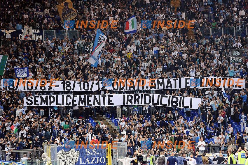 Striscione dei tifosi della Lazio, curva Nord..20/10/2012 Roma.Stadio Olimpico.Football Calcio 2012 / 2013 .Campionato di Calcio Serie A.Lazio vs Milan.Foto Insidefoto / Antonietta Baldassarre.
