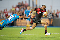 20130803 Copyright onEdition 2013 ©<br />Free for editorial use image, please credit: onEdition.<br /><br />Michael Tagicakibau of Saracens 7s accelerates past Tom Varndell of London Wasps 7s during the J.P. Morgan Asset Management Premiership Rugby 7s Series.<br /><br />The J.P. Morgan Asset Management Premiership Rugby 7s Series kicks off for the fourth season on Thursday 1st August with Pool A at Kingsholm, Gloucester with Pool B being played at Franklin's Gardens, Northampton on Friday 2nd August, Pool C at Allianz Park, Saracens home ground, on Saturday 3rd August and the Final being played at The Recreation Ground, Bath on Friday 9th August. The innovative tournament, which involves all 12 Premiership Rugby clubs, offers a fantastic platform for some of the country's finest young athletes to be exposed to the excitement, pressures and skills required to compete at an elite level.<br /><br />The 12 Premiership Rugby clubs are divided into three groups for the tournament, with the winner and runner up of each regional event going through to the Final. There are six games each evening, with each match consisting of two 7 minute halves with a 2 minute break at half time.<br /><br />For additional images please go to: http://www.w-w-i.com/jp_morgan_premiership_sevens/<br /><br />For press contacts contact: Beth Begg at brandRapport on D: +44 (0)20 7932 5813 M: +44 (0)7900 88231 E: BBegg@brand-rapport.com<br /><br />If you require a higher resolution image or you have any other onEdition photographic enquiries, please contact onEdition on 0845 900 2 900 or email info@onEdition.com<br />This image is copyright the onEdition 2013©.<br /><br />This image has been supplied by onEdition and must be credited onEdition. The author is asserting his full Moral rights in relation to the publication of this image. Rights for onward transmission of any image or file is not granted or implied. Changing or deleting Copyright information is illegal as specified in the Copyright, D