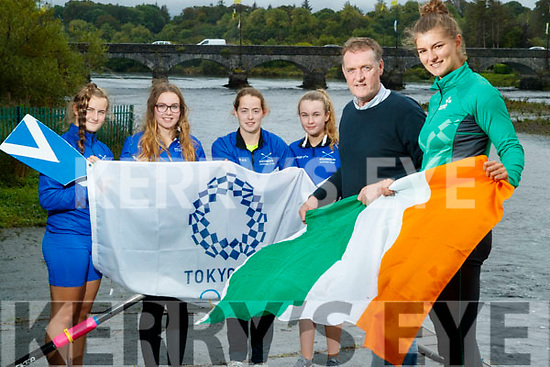 Monika Dukarska on her way to achieving her Olympic ambition for Ireland in the 2020 Tokyo Olympics pictured at Killorglin Rowing club with young rowers Airida Mateviciute, Anna Tyther, Rhiannon O'Donoghue Laoise Murphy and Michael G Fleming (coach).
