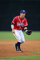 Danville Braves third baseman Jake Lanning (26) on defense against the Pulaski Yankees at Legion Field on August 7, 2015 in Danville, Virginia.  The Yankees defeated the Braves 3-2. (Brian Westerholt/Four Seam Images)
