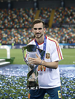 Football: Uefa under 21 Championship 2019 Final, Spain - Germany Dacia Arena, Udine Italy on June 30, 2019.<br /> Spanish Fabian Ruiz holds the trophy after winning the Uefa under 21 Championship 2019 at the Dacia Arena in Udine, Italy on June 30, 2019.<br /> UPDATE IMAGES PRESS/Isabella Bonotto