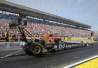 Apr 11, 2015; Las Vegas, NV, USA; NHRA top fuel driver Dave Connolly during qualifying for the Summitracing.com Nationals at The Strip at Las Vegas Motor Speedway. Mandatory Credit: Mark J. Rebilas-
