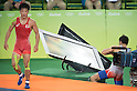 (T-B) Shinobu Ota (JPN), Hamid Mohammad Soryan (IRI), AUGUST 14, 2016 - Wrestling : Hamid Mohammad Soryan of Iran collides with an electronic screen during the Rio 2016 Olympic Games Men's Greco-Roman 59kg Qualification at Olympic Training Center Hall 3 in Rio de Janeiro, Brazil. (Photo by Enrico Calderoni/AFLO SPORT)
