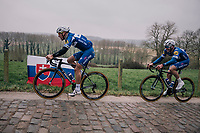 Philippe Gilbert (BEL/Quick Step floors) &amp; Florian S&eacute;n&eacute;chal (FRA/Quick-Step Floors) in the gutter up the Taaienberg<br /> <br /> 61th E3 Harelbeke (1.UWT)<br /> Harelbeke - Harelbeke (206km)