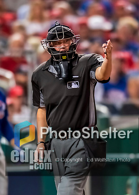 6 October 2017: MLB umpire Cory Blaser works home plate during the first game of the NLDS between the Washington Nationals and the Chicago Cubs at Nationals Park in Washington, DC. The Cubs shut out the Nationals 3-0 to take a 1-0 lead in their best of five Postseason series. Mandatory Credit: Ed Wolfstein Photo *** RAW (NEF) Image File Available ***
