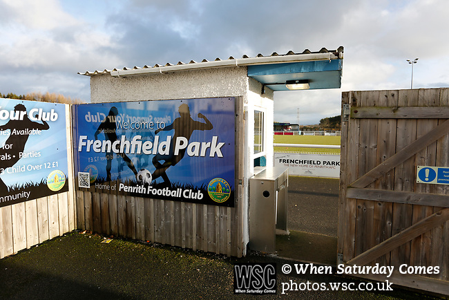The entrance to Frenchfield Park. Penrith AFC V Hebburn Town, Northern League Division One, 22nd December 2018. Penrith are the only Cumbrian team in the Northern League. All the other teams are based across the Pennines in the north east.<br />