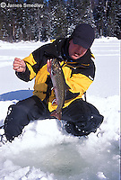 Ice fishing winter brook trout