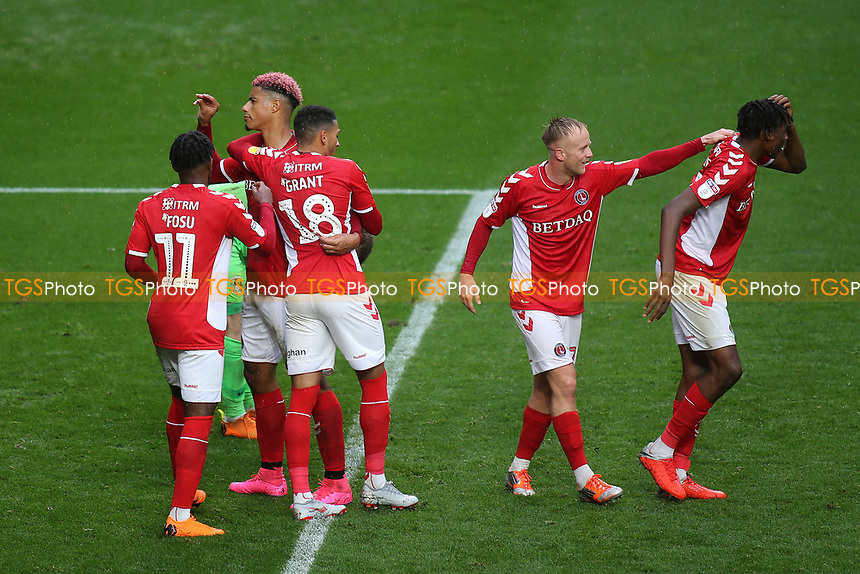 Lyle Taylor celebrates scoring Charlton's opening goal from the penalty spot during Charlton Athletic vs Coventry City, Sky Bet EFL League 1 Football at The Valley on 6th October 2018