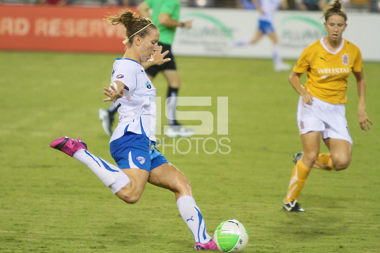 Lauren Cheney (8) of the Boston Breakers drives the ball down field. The Boston Breakers defeated the Atlanta Beat 3-1 during a Women's Professional Soccer (WPS) match at KSU Atlanta Beat Stadium Kennesaw, GA, on September 1, 2010.