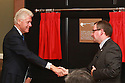 HAND OUT PHOTO: President Bill Clinton unveils the plaque at the William J. Clinton Leadership Institute at Riddel Hall, Queen's University.  He is pictured with the President and Vice-Chancellor of Queen's University Professor Patrick Johnston.  Photo/Paul McErlane
