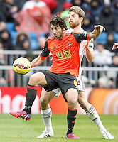 Real Madrid's Asier Illarramendi (r) and Real Sociedad's Esteban Granero during La Liga match.January 31,2015. (ALTERPHOTOS/Acero) /NortePhoto<br />