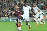 06.11.2013 Barcelona, Spain. Uefa Champions League Matchday 4 group H. Picture show Leo Messi (L) and Cristian Zapata (R) in action during game between FC Barcelona against AC Milan at Camp Nou