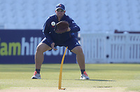 Andre New of Essex helps with the warm-up prior to Surrey CCC vs Essex CCC, Specsavers County Championship Division 1 Cricket at the Kia Oval on 14th April 2019