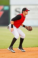 Kannapolis Intimidators shortstop D.J. Jarrad (9) on defense against the Rome Braves at CMC-Northeast Stadium on August 5, 2012 in Kannapolis, North Carolina.  The Intimidators defeated the Braves 9-1.  (Brian Westerholt/Four Seam Images)