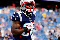 August 9, 2018: New England Patriots running back James White (28) warms up prior to the NFL pre-season football game between the Washington Redskins and the New England Patriots at Gillette Stadium, in Foxborough, Massachusetts.The Patriots defeat the Redskins 26-17. Eric Canha/CSM