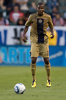 Philadelphia Union forward Danny Mwanga (10) keeps his eyes on the ball. The Philadelphia Union and CD Chivas USA played to 1-1 draw at Home Depot Center stadium in Carson, California on Saturday evening July 3, 2010..