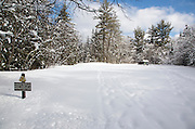 Sawyer Pond Trailhead along the Kancamagus Scenic Byway in the White Mountains, New Hamps.hire USA during the winter months.