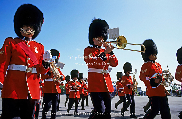 Marching band of soldiers from the Royal Canadian Regiment during the Changing of the Guard ceremony, Quebec City, Quebec, Canada.