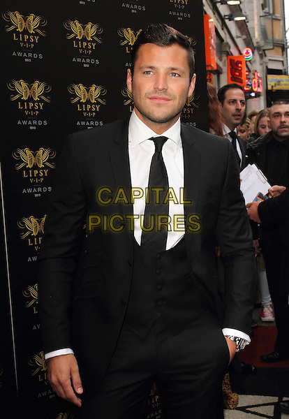Mark Wright<br /> Lipsy VIP Fashion Awards at DSTRKT, London, England.<br /> May 29th 2013<br /> half length white black suit tie waistcoat <br /> CAP/ROS<br /> &copy;Steve Ross/Capital Pictures