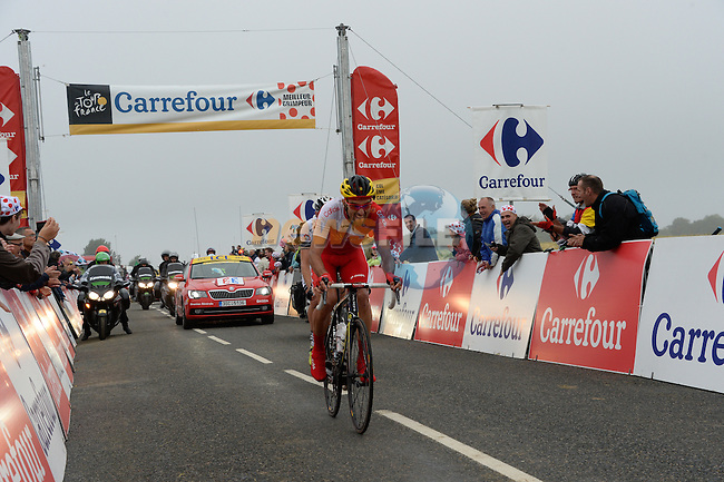 Luis Angel Mate Mardones (ESP) Cofidis and Arnaud Gerard (FRA) Bretagne-Seche crest Cote de Roucy during stage Stage 6 of the 2014 Tour de France running 194km from Arras to Reims. 10th July 2014.<br /> Picture: ASO/B.Bade/www.newsfile.ie