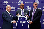 (L-R) High Point University President Dr. Nido Qubein, men's basketball head coach Tubby Smith, and Athletic Director pose for a photo at the Hayworth Fine Arts Center on the campus of High Point University on March 27, 2018 in High Point, North Carolina.  (Brian Westerholt/Sports On Film)