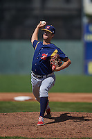 State College Spikes pitcher Carson Cross (43) delivers a pitch during a game against the Batavia Muckdogs August 23, 2015 at Dwyer Stadium in Batavia, New York.  State College defeated Batavia 8-2.  (Mike Janes/Four Seam Images)
