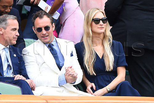 08.07.2016. All England Lawn Tennis and Croquet Club, London, England. The Wimbledon Tennis Championships Day 12. Mens' singles semi-final between number 3 seed Roger Federer (SUI) and number 6 seed, Milos Raonic (CAN). Jude Law in attendance