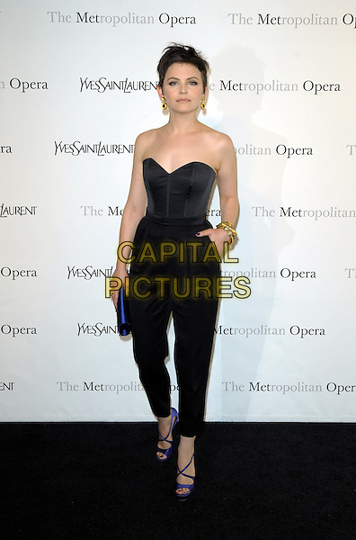 "GINNIFER GOODWIN .The Metropolitan Opera Gala Premiere of ""Armida"" at the Metropolitan Opera House at Lincoln Center,  New York, NY, USA, 12th April 2010..full length strapless bustier corset top high waisted trousers hand in pocket gold earrings bracelet blue clutch bag purple open toe sandals shoes strappy .CAP/ADM/BM.©Bill Menzel/AdMedia/Capital Pictures."