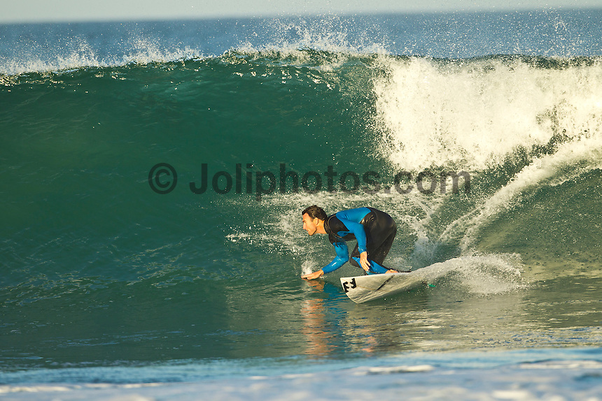 Jeffreys Bay, Eastern Cape, South Africa. Thursday July 21 2011. Joel Parkinson (AUS).  Freesurfing at Boneyards in 2'-4' clean south easterly swell.  Photo: joliphotos.com