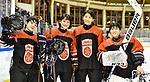 07.01.2020, BLZ Arena, Füssen / Fuessen, GER, IIHF Ice Hockey U18 Women's World Championship DIV I Group A, <br /> Ungarn (HUN) vs Japan (JPN), <br /> im Bild Ayaka Tomiuchi (JPN, #6), Hina Shimomukai (JPN, 17), Minami Kamada (JPN, #15) und Reika Sasaki (JPN, #1) sind gut gelaunt<br /> <br /> Foto © nordphoto / Hafner