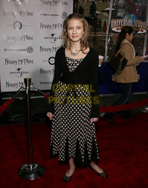 "ELIZA BENNETT.US Premiere of Universal's ""Nanny McPhee"" at  the Universal Studios Cinemas, Universal City, California..Januray 14th, 2006.Photo: William Scott/AdMedia/Capital Pictures.Ref: WS/ADM.full length jblack white polka dot dress cardigan.www.capitalpictures.com.sales@capitalpictures.com.© Capital Pictures."