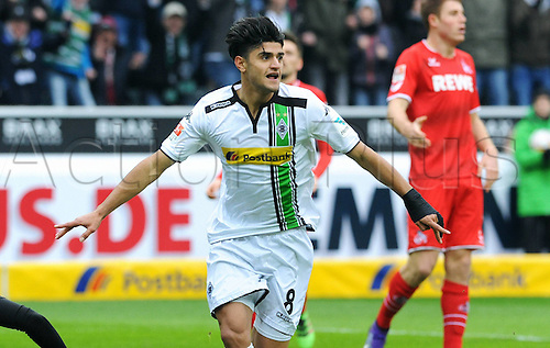 20.02.2016. Borussia Park, Mönchengladbach, North Rhine-Westphalia, Germany. Bundesliga football, Borussia Moenchengladbach verus Cologne.  Goal celebrations from Mahmoud Dahoud (Gladbach) for 1-0