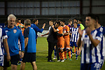 Visiting players and backroom staff celebrating their team's victory at the final whistle as Coleraine (in blue) played Spartak Subotica of Serbia in a Europa League Qualifying First Round second leg at the Showgrounds, Coleraine. The hosts from Northern Ireland had drawn the away leg 1-1 the previous week, however, the visitors won the return leg 2-0 to progress to face Sparta Prague in the next round, watched by a sell-out crowd of 1700.