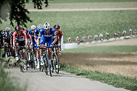 Florian Senechal (FRA/Quick Step Floors) leading the peloton over the Sweikhuizenberg.  <br /> <br /> Binckbank Tour 2018 (UCI World Tour)<br /> Stage 6: Riemst (BE) - Sittard-Geleen (NL) 182,2km