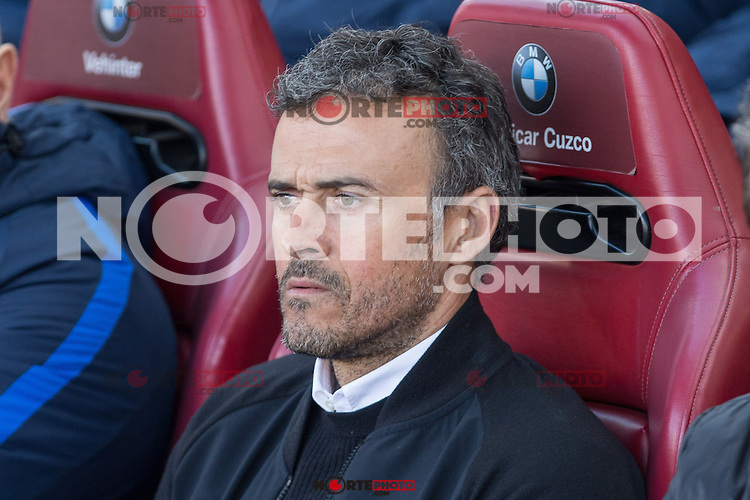 Luis Enrique Martinez coach  of Futbol Club Barcelona during the match of Spanish La Liga between Atletico de Madrid and Futbol Club Barcelona at Vicente Calderon Stadium in Madrid, Spain. February 26, 2017. (Rodrigo Jimenez / ALTERPHOTOS) /NortEPhoto.com