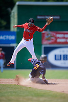 Batavia Muckdogs second baseman Gerardo Nunez (1) catches a high throw as Delvin Perez (23) steals during a game against the State College Spikes on July 8, 2018 at Dwyer Stadium in Batavia, New York.  Batavia defeated State College 8-3.  (Mike Janes/Four Seam Images)