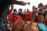 Africa, Ghana,Kumasi, dance at Ashanti funeral