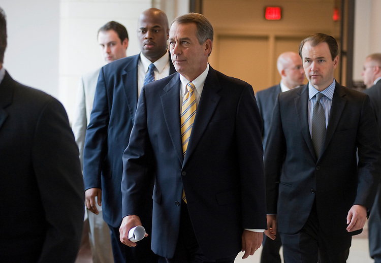 UNITED STATES - JULY 21:  Speaker John Boehner, R-Ohio, arrives for his weekly news conference in the Capitol Visitor Center where he mainly addressed the debt ceiling talks.  (Photo By Tom Williams/Roll Call)