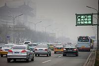 Traffic on Beijing main street, Chang An Avenue, China