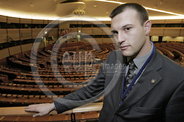 BRUSSELS - BELGIUM - 09 JANUARY 2007 -- MEP Dimitar STOYANOV from the Bulgarian Attack Coalition in the hemicycle of the EU-Parliament. --PHOTO: JUHA ROININEN / EUP-IMAGES