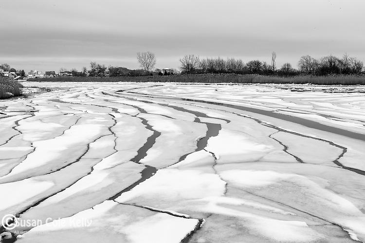 Ice floes on Belle Isle Inlet, Boston, Massachusetts, USA
