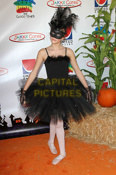 Bella Thorne.Camp Ronald McDonald For Good Times' 19th Annual Halloween Carnival Held At Universal, Hollywood, California, USA..October 23rd, 2011.full length white tights ballet black tulle mask dress black swan posing .CAP/ADM/KB.©Kevan Brooks/AdMedia/Capital Pictures.
