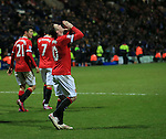 Manchester United's Wayne Rooney celebrates scoring his sides third goal<br /> <br /> FA Cup - Preston North End vs Manchester United  - Deepdale - England - 16th February 2015 - Picture David Klein/Sportimage