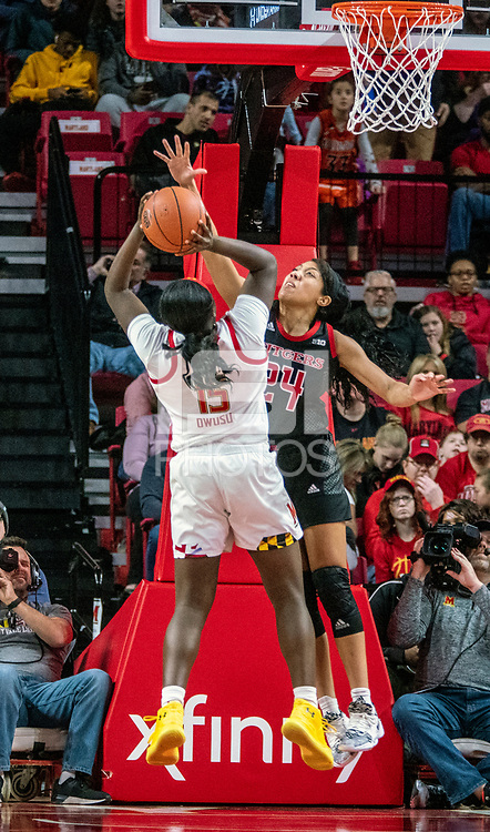 COLLEGE PARK, MD - FEBRUARY 9: Arella Guirantes #24 of Rutgers defends against Ashley Owusu #15 of Maryland during a game between Rutgers and Maryland at Xfinity Center on February 9, 2020 in College Park, Maryland.