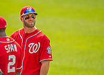 26 July 2013: Washington Nationals outfielder Bryce Harper looks up into the stands during a pitching change against the New York Mets at Nationals Park in Washington, DC. The Mets shut out the Nationals 11-0 in the first game of their day/night doubleheader. Mandatory Credit: Ed Wolfstein Photo *** RAW (NEF) Image File Available ***