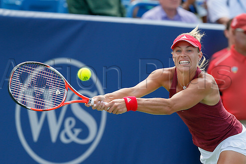21.08.2016. Mason, Ohio, USA.  Angelique Kerber (GER) returns a shot during the Women's Final at The Western & Southern Open in Mason, OH. Karolina Pliskova (CZE) defeated Kerber 6-3, 6-1 to win the Championship.